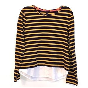 New Tommy Hilfiger Yellow Navy Stripes&White Top-L